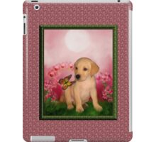 Yellow Labrador Puppy With Butterfly And Flowers iPad Case/Skin