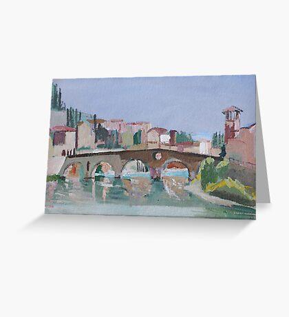 Roman Bridge, Verona Greeting Card