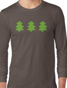Green Christmas Trees Pattern Long Sleeve T-Shirt