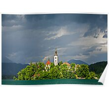 Storm light over Lake Bled Poster