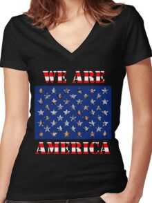 We are America Women's Fitted V-Neck T-Shirt