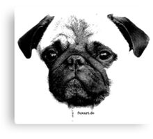 mops puppy white - french bulldog, cute, funny, dog Canvas Print