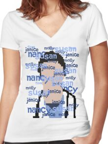 JD - Names Women's Fitted V-Neck T-Shirt