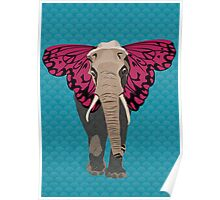 Elephant Butterfly Poster