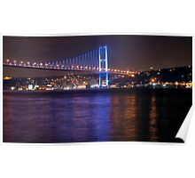 Night view of Bosphorus Bridge Poster