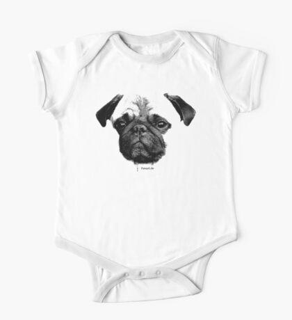 mops puppy white - french bulldog, cute, funny, dog One Piece - Short Sleeve