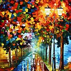 Night Park - Oil painting on Canvas By Leonid Afremov by Leonid  Afremov