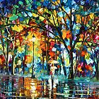 Night  Walk- Oil painting on Canvas By Leonid Afremov by Leonid  Afremov