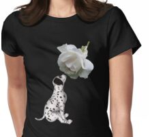 Dalmatian Puppy Smelling White Rose  Womens Fitted T-Shirt