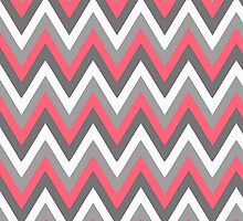 Pink Grey White Chevron Pattern by Cierra Doran