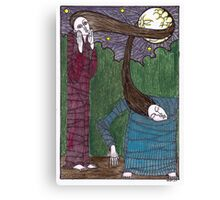 two sisters and the moon...colour Canvas Print