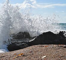 Individual wave and a rock by Ekl75