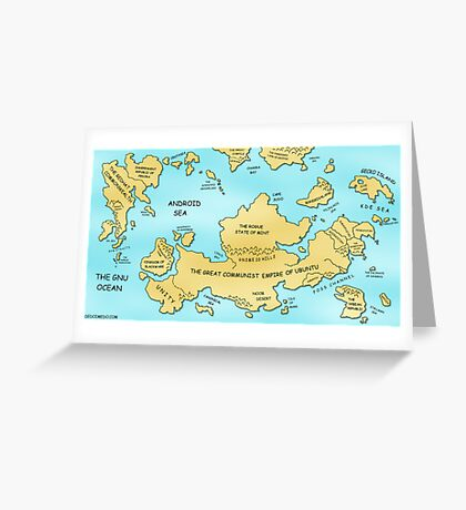 Linux World Map Greeting Card
