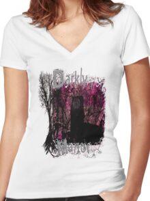 Pink Darkly Manor Women's Fitted V-Neck T-Shirt