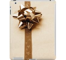 Gift Wrapped Vintage Bow and Ribbon on Plain Paper iPad Case/Skin