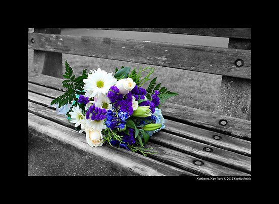 Northport Harbor Bench With A Bouquet Of Flowers - Northport, New York by © Sophie W. Smith