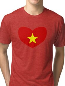 Heart Shaped Flag of Vietnam Tri-blend T-Shirt