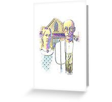 Neon American Gothic Greeting Card