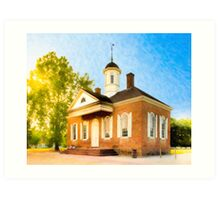 Williamsburg Courthouse - Colonial American History Art Print