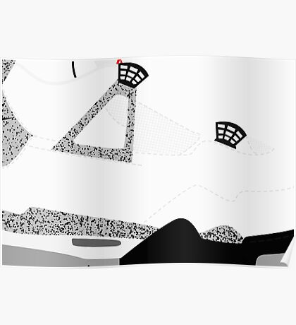 Made in China IV White/Cement Size US 9.5 - Pop Art, Sneaker Art, Minimal Poster