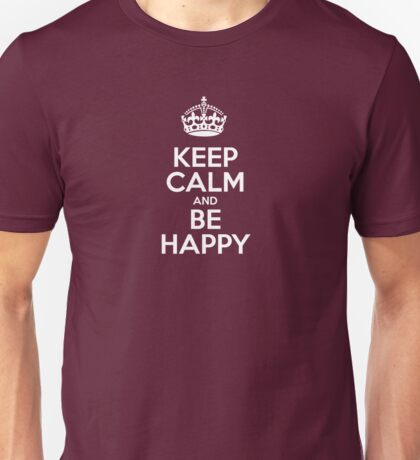 Keep Calm and Be Happy - Red Leather Unisex T-Shirt