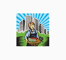 Female Organic Farmer Harvest Building Retro Unisex T-Shirt