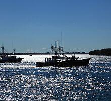Fishing Boats On A Shimmering Sea by Noel Elliot