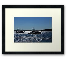 Fishing Boats On A Shimmering Sea Framed Print