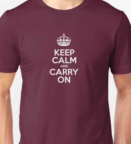 Keep Calm and Carry On - Red Leather Unisex T-Shirt