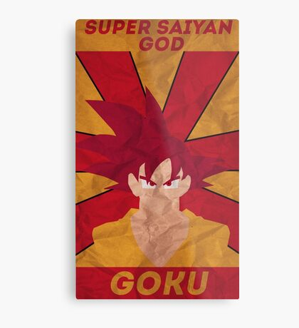 Super Saiyan God Goku Metal Print