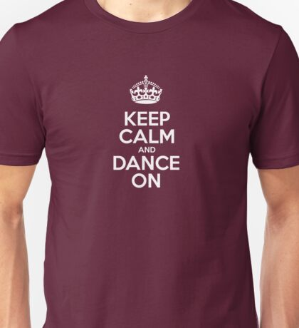 Keep Calm and Dance On - Red Leather Unisex T-Shirt