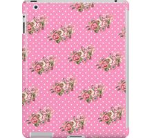 Girly Vintage Retro Floral Pattern Pink Polka Dots iPad Case/Skin