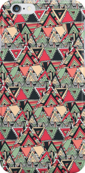 Retro Tribal Aztec Pattern Boho Orange Triangles by GirlyTrend