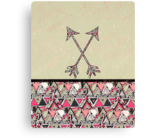 Retro Tribal Arrows Vintage Earth Aztec Pattern Canvas Print