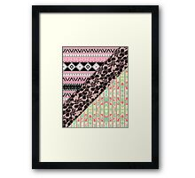 Abstract Pink Orange Aztec Black Girly Floral Lace Framed Print