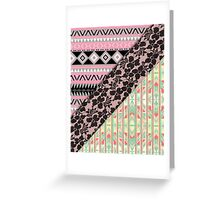 Abstract Pink Orange Aztec Black Girly Floral Lace Greeting Card
