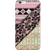 Abstract Pink Orange Aztec Black Girly Floral Lace iPhone Case/Skin