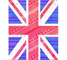 Modern Abstract White Aztec UK Union Jack Flag Photographic Print