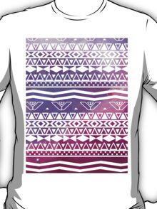 Trendy White Aztec Pattern Purple Nebula Space T-Shirt
