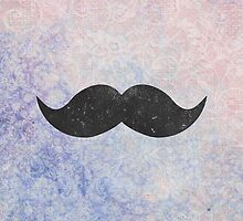 Vintage Funny Mustache Purple Blue Floral Damask by GirlyTrend