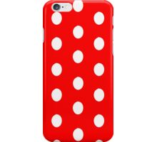 Polka dots white on red iPhone Case/Skin