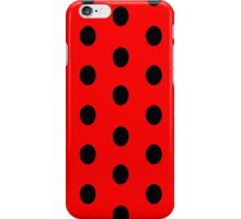 Polka dots black on red iPhone Case/Skin