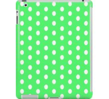 Polka dots white on green iPad Case/Skin