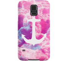 Girly Nautical Anchor Bright Pink Clouds Sky Samsung Galaxy Case/Skin