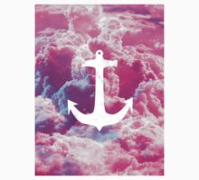 Girly Nautical Anchor Bright Pink Clouds Sky Kids Clothes