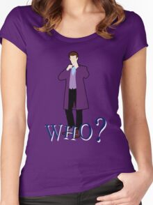 """""""WHO?"""" Eleventh Doctor T-Shirt (2) Women's Fitted Scoop T-Shirt"""