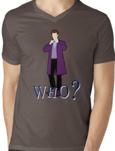 """WHO?"" Eleventh Doctor T-Shirt (2) Mens V-Neck T-Shirt"