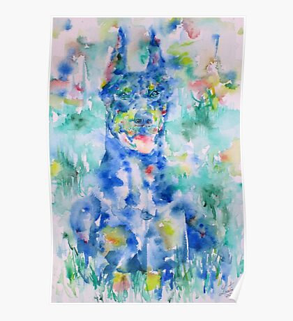 DOBERMAN in the GRASS - watercolor on paper Poster