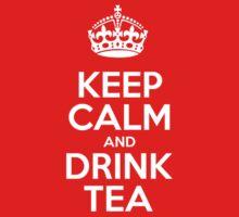 Keep Calm and Drink Tea - Red Leather Kids Tee