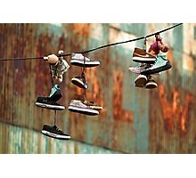 Urban Art. Shoes in Greenpoint, Brooklyn, New York Photographic Print